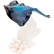 Glazed Blue Stingray w/ Coral Figurine