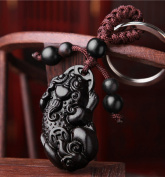 Feng Shui Peach Wood Curved Pi Yao Key Ring for Wealth