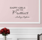 Happy girls are the prettiest. Audrey Hepburn. Vinyl wall art Inspirational quotes and saying home decor decal sticker