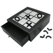 Micho Mirror Reflection Tic-Tac-Toe Black Leatherette Board Game - 15cm Set
