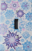 Multicoloured Snowflake Light Switch Plate Covers With Glitter / Single Toggle Purple, Pink, and Blue Snowflake Wall Decor