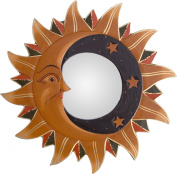 Small Sun, Moon & Stars Mirror in Natural & Black with Gold Lines