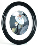 Gallery Solutions Oval Wall Frame, 28cm by 36cm Matted Opening to Display 20cm by 25cm Photo, Black