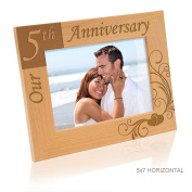 """Kate Posh - """"Our 5th Anniversary"""" Wooden Picture Frame"""