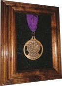 Single Medal Display Case - 5x7 Walnut (Blue Velvet) - other velvet colours available