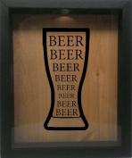 Wooden Shadow Box Wine Cork/Bottle Cap Holder 23cm x 28cm - Beer Beer Beer in Glass