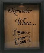 Wooden Shadow Box Wine Cork/Bottle Cap Holder 23cm x 28cm - Remember When With Tickets
