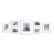 GALLERY PERFECT 7 Piece White Wood Photo Frame Wall Gallery Kit #11FW1444. Includes