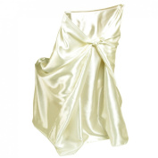 LinenTablecloth Satin Universal Chair Cover Ivory