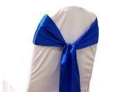 10 New Satin Chair Sashes Bows Ties - Wedding Decorations - Royal Blue