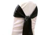 10 New Satin Chair Sashes Bows Ties - Wedding Decorations - Black