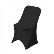 LinenTablecloth Stretch Folding Chair Cover Black