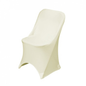LinenTablecloth Stretch Folding Chair Cover Ivory
