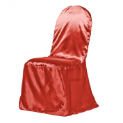 LinenTablecloth Satin Banquet Chair Cover Red