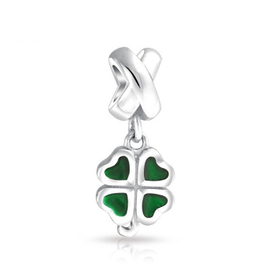 Graduation Gifts 925 Sterling Silver Lucky Four Leaf Clover Heart Dangle Bead Fits Pandora