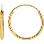 14K Gold Thin Continuous Endless Hoop Earrings, 10 - 24mm