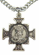 Quis Et Dues Saint Michael Cross 2.2cm Sterling Silver Medal