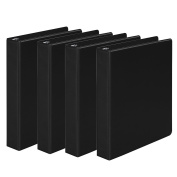 Wilson Jones 3 Ring Binder, 3.8cm Round Ring, 4 Pack, Black