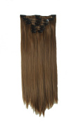 60cm Full Head Clip in Synthetic Hair Extensions 8 Pcs 140g Chocolate Brown