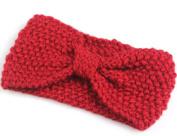 KingWinX Girl's Crochet Bow Knitted Headband, Red