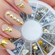 120Pcs Nail Gold /Silver Metal Art Decor Rhinestones Tips Studs Metallic Tool