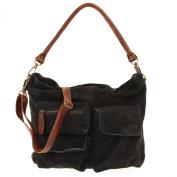 Leconi vintage look velour leather shopper handbag women LE0039-V