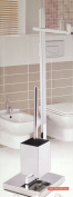 Protenrop Stainless Steel Free Standing Toilet Butler Toilet Paper Holder Toilet Brush