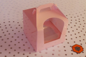 25 x Light PINK or BLUE Single CUP WINDOW boxes cake boxes 80x80x80mm with inserts/holder