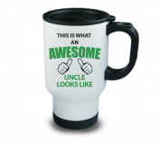 This Is What An Awesome Uncle Looks Like Metal Travel Mug Present Gift Birthday Christmas