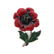 Brooch Boutique Red Black Green Enamel Poppy Brooch - Silver Finish