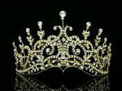 Venus Jewellery Women's Pageant Bridal Wedding Rhinestone Crystal Tiara Crown - Gold Plated Clear Crystals T429
