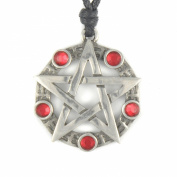 Mystical & Magical Pewter / Red Pentagram Pentacle Pagan Wiccan Gothic Pendant