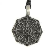Mystical & Magical Pewter Pendant - Dharma Wheel - Chakra - Symbol of Buddhism Buddhist