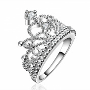 Scorpios Silver Plated Copper CZ Princess Crown Ring 1PC with Gift Box