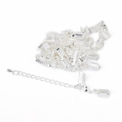 Necklace Bracelet Jewellery Extenders Chain Clasp and Clip Ends Set 12pcs Silvery White