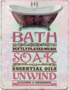 Bath Soak Unwind Metal Sign Nostalgic Vintage Retro Advertising Enamel Wall Plaque 200mm x 150mm
