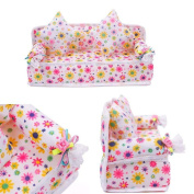 STOREINBOX Mini Furniture Flower Sofa Couch +2 Cushions For Barbie Doll House Accessories