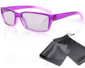 """Passive 3D Glasses for Kids - High Quality - purple / transparent - for RealD cinema use and passive 3D TVs such as LG """"Cinema 3D"""" and Philips """"Easy 3D""""- circularly polarised - with pouch"""