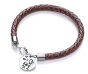 Code Red Brown Leather Daughter Loves Dad Charm Bracelet of Length 20cm