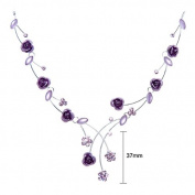 Glamorousky Elegant Rose Necklace with Purple. Element Crystals and Crystal Glass - 40cm +8.5cm extension chain