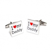 I Love My Daddy Cufflinks with Red Heart