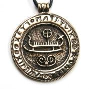 Viking Boat Bronze Pendant Necklace Jewellery, incl black cotton sting, Pendant total length