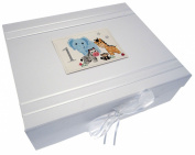 White Cotton Cards Safari Animals Age 1 Large Keepsake Box, Code SAF2X