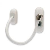 25 x White Max6mum Security Window & Door Restrictor for Baby and Child Safety - uses strong cable and is key lockable