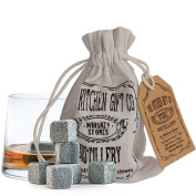 Whiskey Stones - Reusable Whisky Chilling Rocks In A kitchen Gift Co Distillery Storage Bag