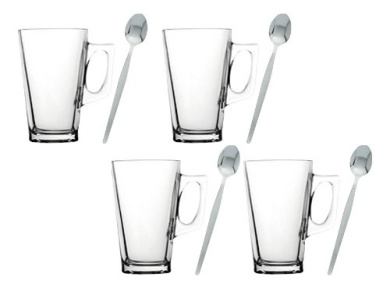 4 x Latte Cappuccino Coffee Cafe Clear Glass Mugs Glasses 260ml & Latte Spoons