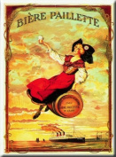 FRENCH VINTAGE METAL SIGN 20X15cm RETRO AD PAILLETTE BEER