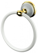 VELMA - 278360 - Unique towel ring from our Bianco Gold range - timeless exquisite design - brass, zinc alloy, high quality ceramic and 18ct gold (750) - 100% rustproof - premium quality