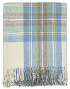 Stewart Muted Blue Tartan Wool Blanket Travel Rug