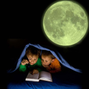 Supertogether Glow-in-the-Dark Moon for Children's Bedroom Ceiling - 20cm Diameter Fully Repositionable Kids Wall Sticker Solar Astronomy Vinyl Lunar Decal for Boys and Girls Rooms & Nurseries